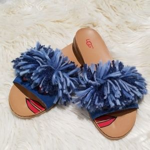 NWOT UGG cindi yarn slides denim pop art 6